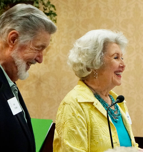 Charter members  Joe and Marjorie Brake, sharing memories during Trinity's  70th Anniversary Founding Members luncheon.