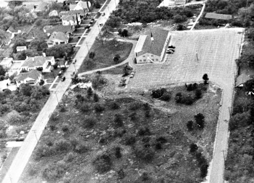Trinity Baptist Church  is pictured here in a 1950 aerial photo.