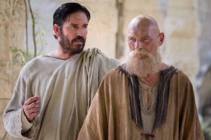 Jim Caviezel as Luke and James Faulkner as Paul © 2017 CTMG. All Rights Reserved